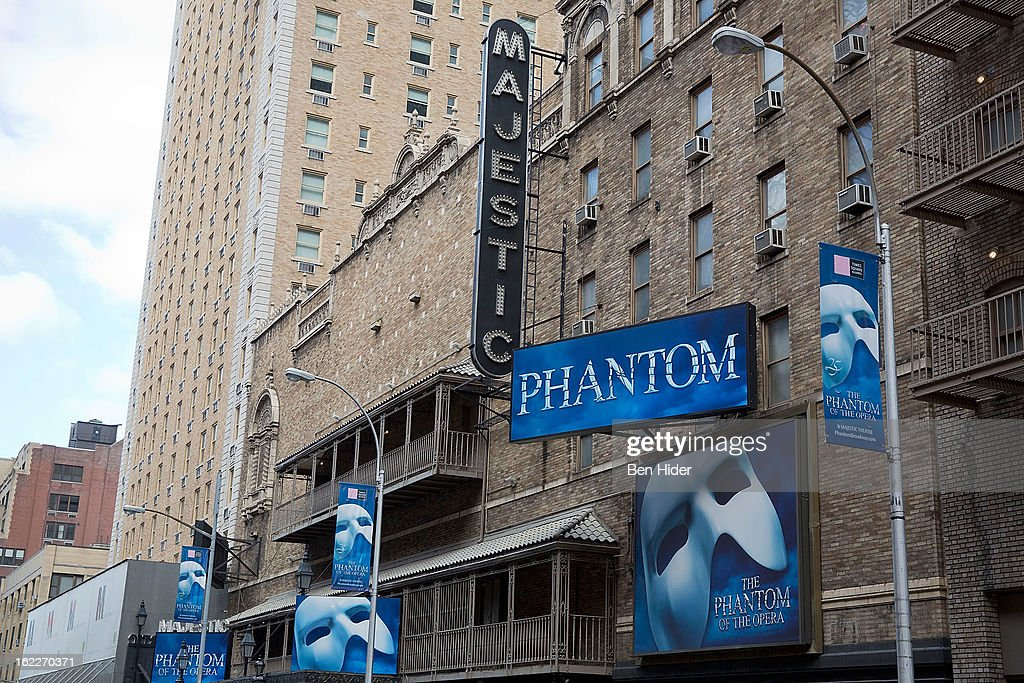 A general view of the exterior of Majestic Theater showing 'The Phantom of the Opera' on February 21, 2013 in New York City.