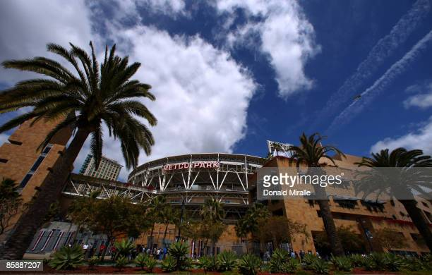 A general view of the exterior of Petco Park before the start of the Los Angeles Dodgers against the San Diego Padres MLB game on April 9 2009 at...