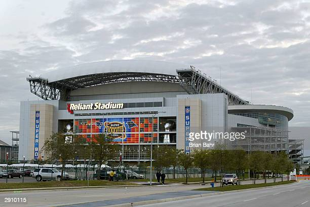 A general view of the exterior of Reliant Stadium as it makes final preparations for Super Bowl XXXVIII between the New England Patriots and the...