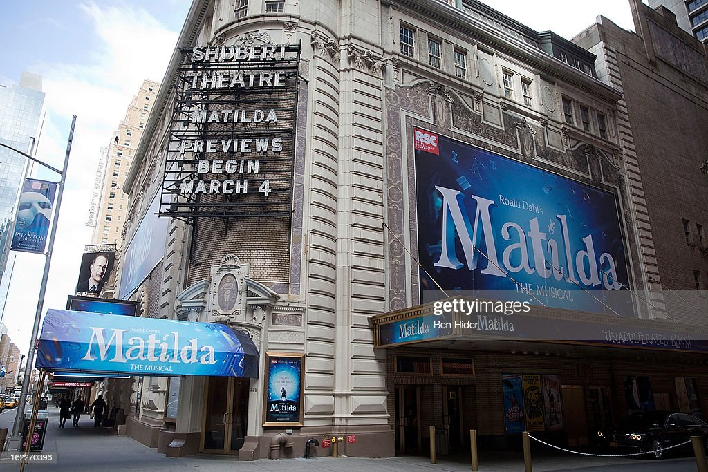 A general view of the exterior of Shubert Theatre showing 'Matilda' the musical on February 21, 2013 in New York City.