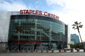 A general view of the exterior of Staples Center before the first round of the 2011 Pacific Life Pac10 Men's Basketball Tournament on March 9 2011 in...
