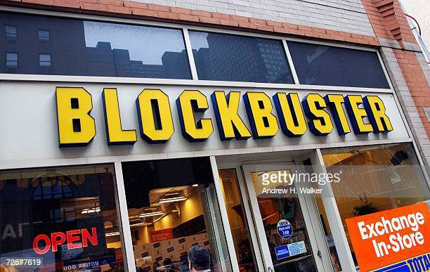 General view of the exterior of the Blockbuster store hosting a press conference announcing The Weinstein Company's deal with Blockbuster Inc for...