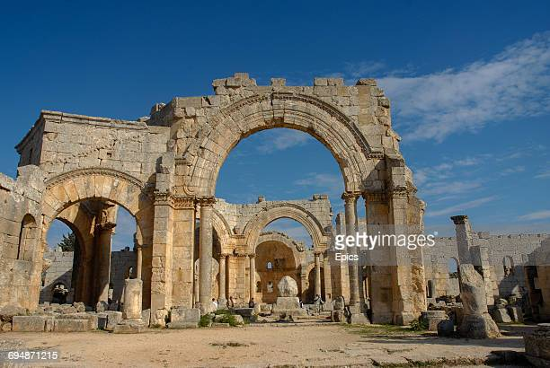 A general view of the exterior of the Church Of Saint Simeon Stylites which is around 30 kilometers northwest of Aleppo Syria and was one of the...