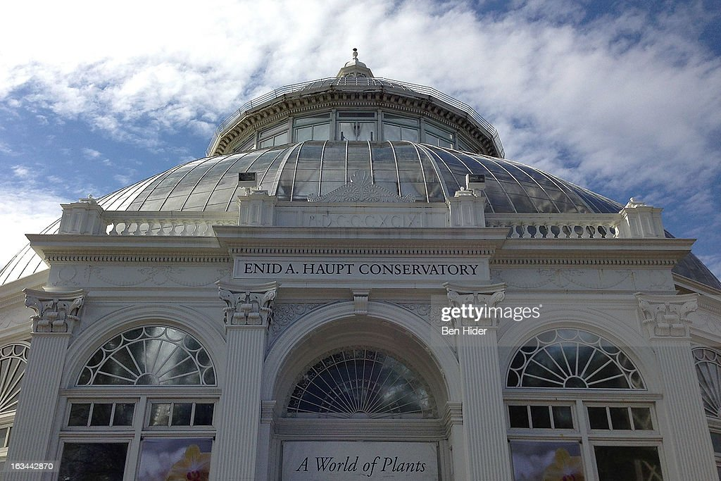 A general view of the exterior of The Enid A Haupt Conservatory greenhouse at the New York Botanical Garden on March 13 2013 in New York City