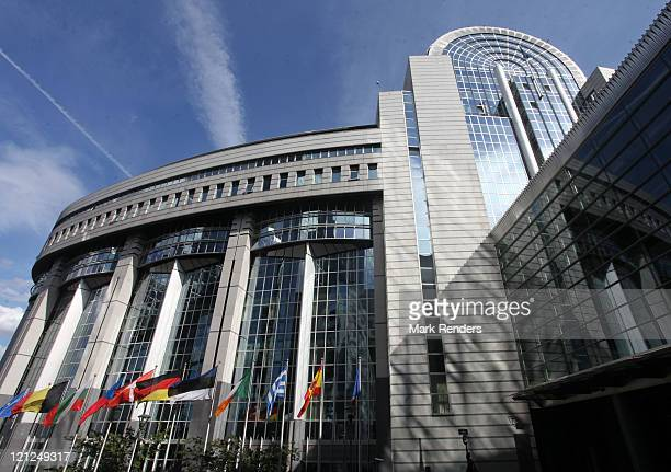 A general view of the exterior of the European Parliament building on August 16 2011 in Brussels Belgium The German Chancellor Angela Merkel met with...