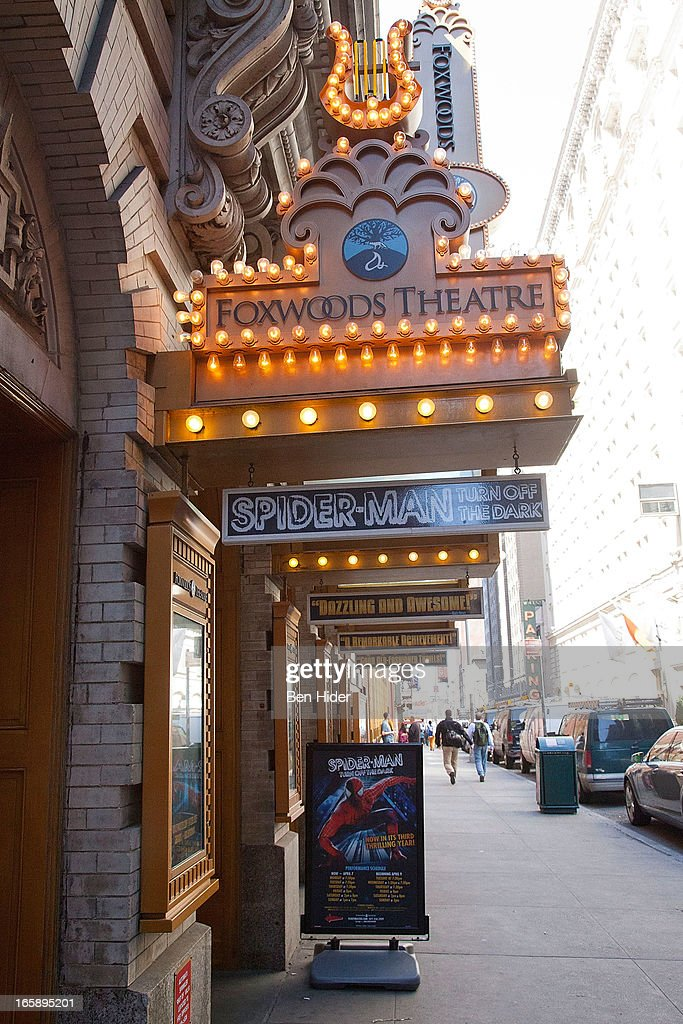 A general view of the exterior of the Foxwood Theater showing 'Spider-man' on April 5, 2013 in New York City.