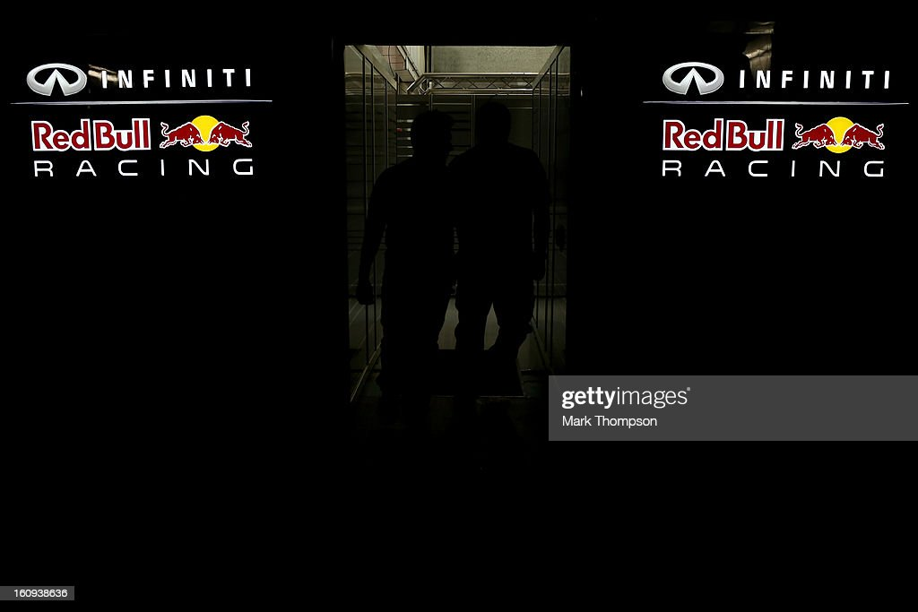 A general view of the exterior of the Infiniti Red Bull Racing team garage during Formula One winter testing at Circuito de Jerez on February 7, 2013 in Jerez de la Frontera, Spain.