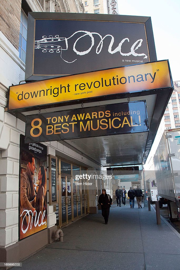 A general view of the exterior of the Jacobs Theater showing 'Once' on April 5, 2013 in New York City.