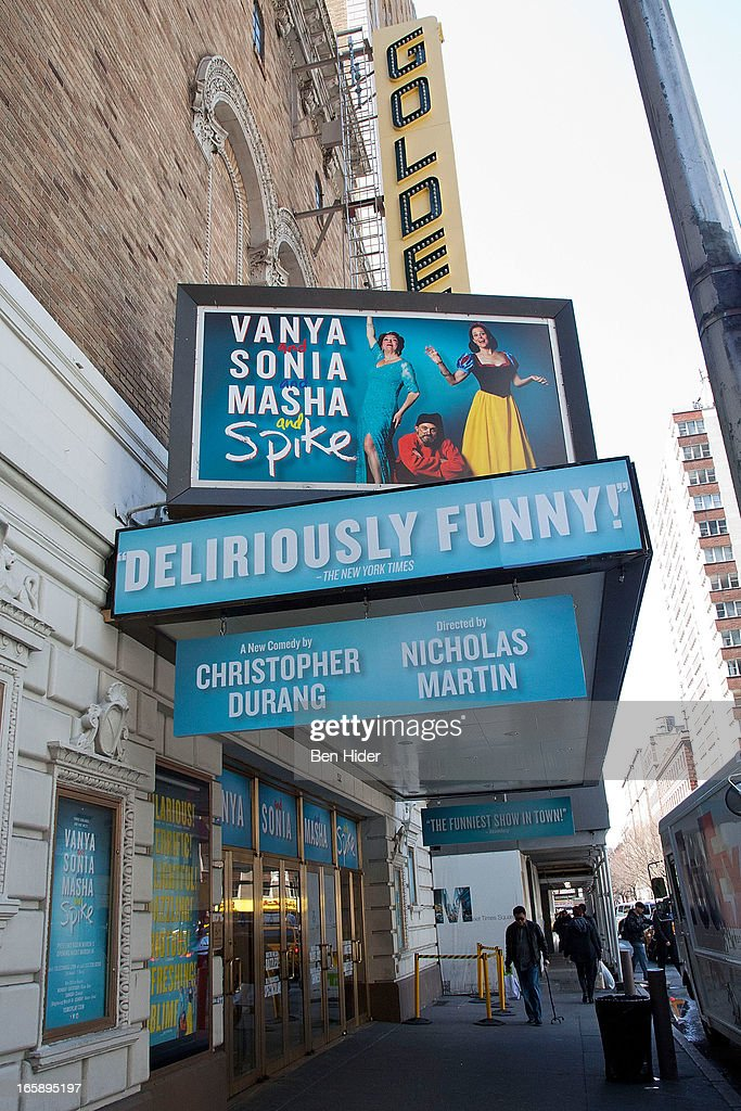 A general view of the exterior of the John Golden Theatre showing 'Vanya and Sonia and Masha and Spike' on April 5, 2013 in New York City.