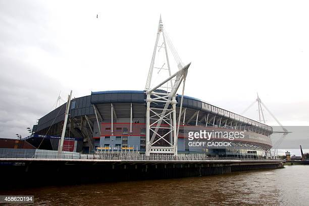 General view of the exterior of The Millennium Stadium before the International rugby union test match between Wales and Australia in Cardiff south...