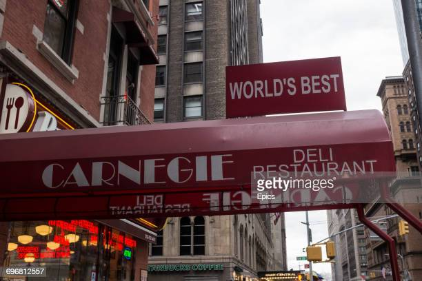 A general view of the exterior of the nowclosed Carnegie Deli and restaurant on 7th Avenue in midtown Manhattan 21st January 2017 The deli was a New...