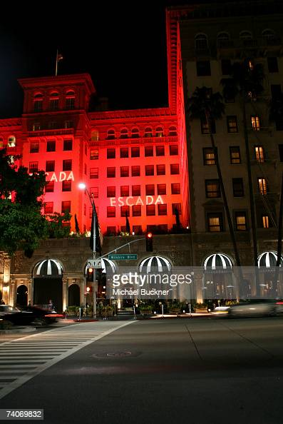General view of the exterior of the Regent Beverly Wilshire Hotel displaying the ESCADA GrandReopening lights on May 3 2007 in Beverly Hills...
