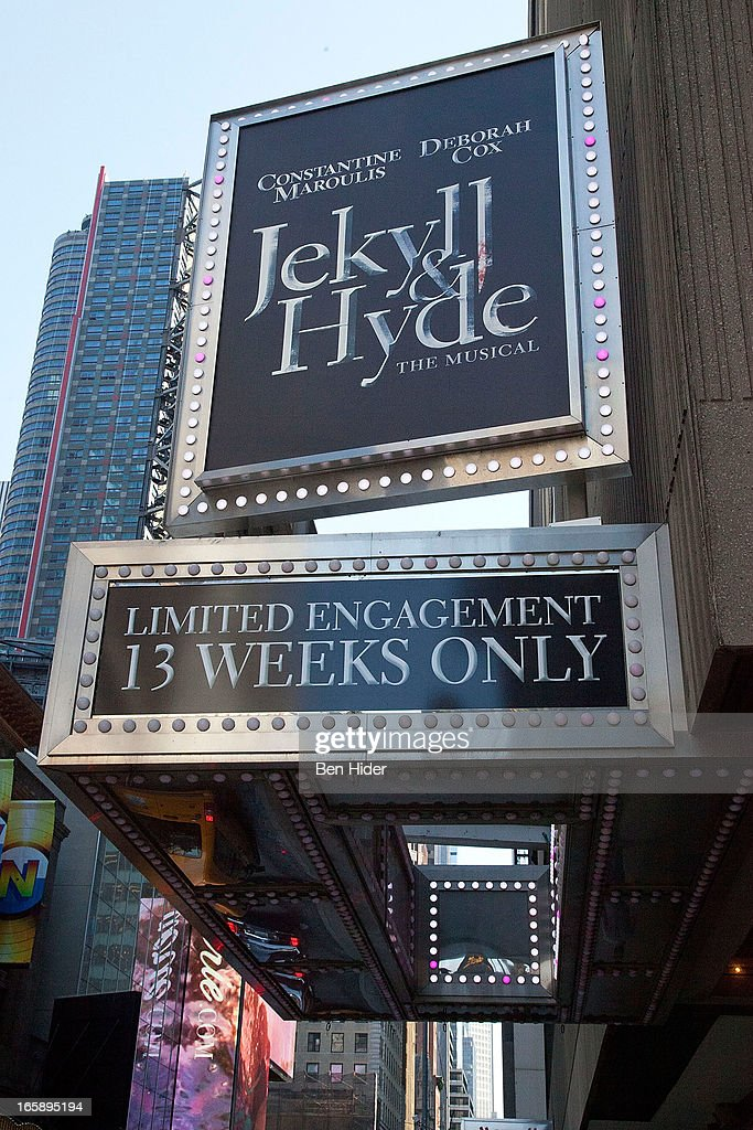 A general view of the exterior of the Richard Rodgers Theater showing 'Jekyll & Hyde' on April 5, 2013 in New York City.