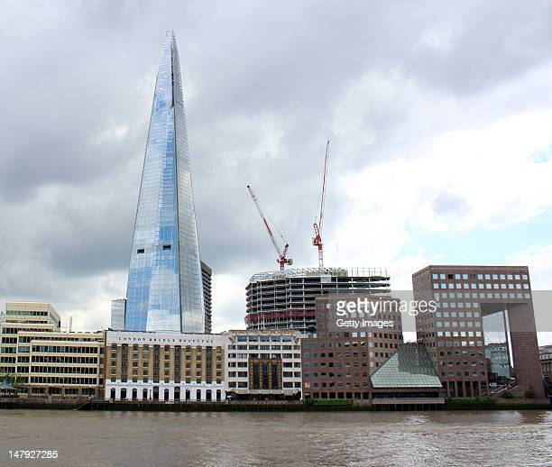 A general view of the exterior of the Shard from across the river on Lower Thames Street on July 5 2012 in London England The European Union's...