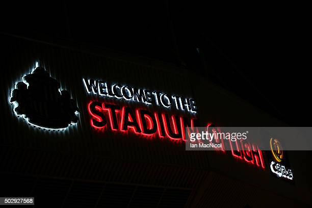A general view of the exterior of the stadium before the Barclays Premier League match between Sunderland and Liverpool at Stadium of Light on...