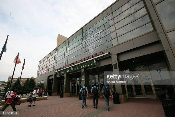A general view of the exterior of the Xcel Energy Center before day two of the 2011 NHL Entry Draft on June 25 2011 in St Paul Minnesota