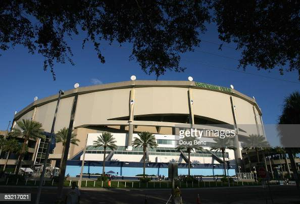 General view of the exterior of Tropicana Field before game one of the American League Championship Series between the Boston Red Sox and the Tampa...