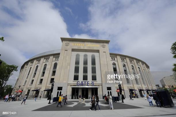 A general view of the exterior of Yankee Stadium in front of Gate 4 during the game between the Minnesota Twins and New York Yankees at Yankee...