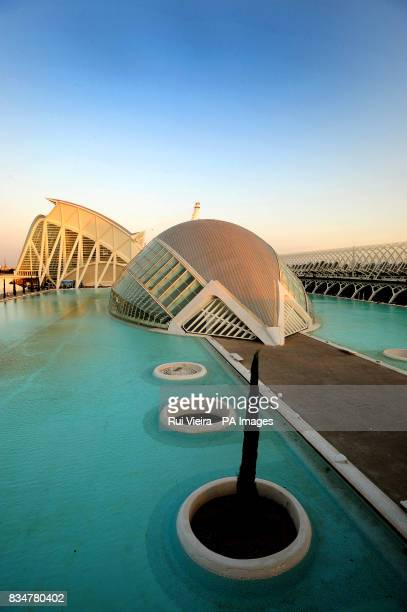 A general view of the eyeballshaped L'Hemisferic it houses a planetarium laserium and IMAX theater Part of a larger complex mostly designed by the...