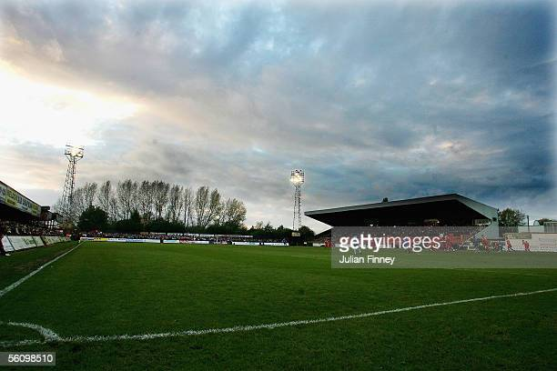 A general view of the FA Cup 1st Round match between Kettering Town and Stevenage at Rockingham Road on November 5 2005 in Kettering England