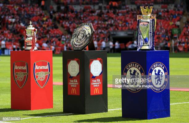 General view of the FA Cup The Community Shield and The Premier League Trophy