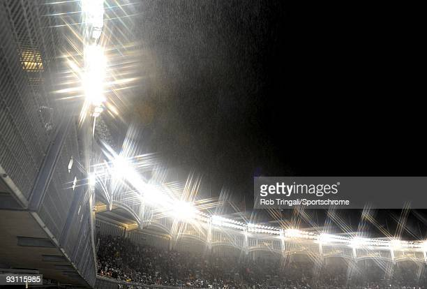 A general view of the facade at Yankee Stadium at night during a game between the New York Yankees and the Philadelphia Phillies in Game One of the...