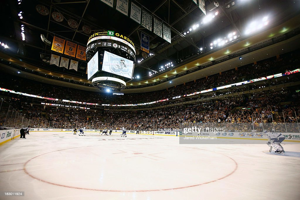A general view of the face-off at center ice during the home opener game between the Boston Bruins and the Tampa Bay Lightning on October 3, 2013 at TD Garden in Boston, Massachusetts.