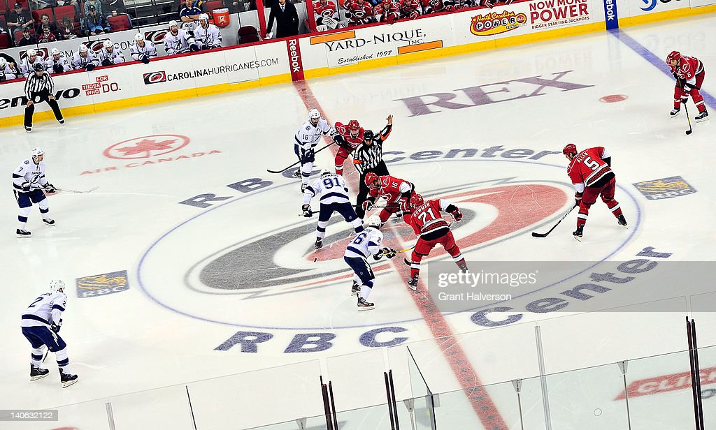 General view of the faceoff to begin the third period of the game between the Tampa Bay Lightning and the Carolina Hurricanes at the RBC Center on March 3, 2012 in Raleigh, North Carolina. The Lightning won 4-3 in overtime.