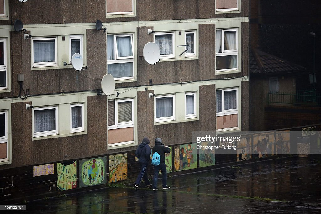 A general view of the Falinge Estate, which has been surveyed as the most deprived area in England for a fifth year in a row, on January 8, 2013 in Rochdale, England. According to data provided by the Department for Communities and Local Government, 72 per cent of people in the local area are unemployed and seven per cent have never had a job. Four out of five children on the estate are living in poverty, with the area having one of the highest teenage pregnancy rates in the country. During today's House of Commons debate, the government urged MPs to back their planned 1 per cent cap on annual rises in benefits and some tax credits for three years from next April. Benefits for people of working age have historically risen in line with the rate of inflation.