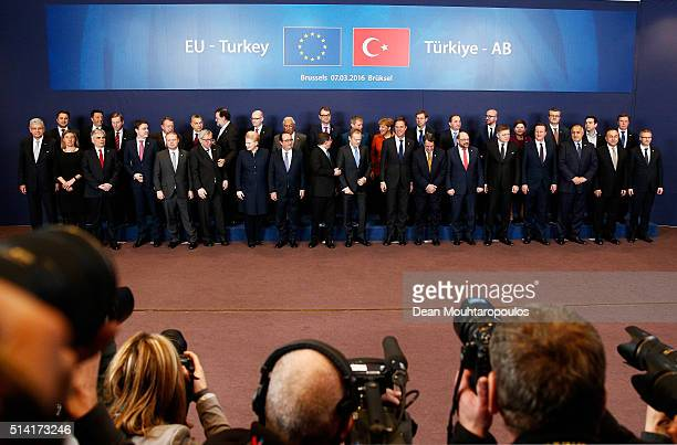 A general view of the Family Photo taken during The European Council Meeting In Brussels held at the Justus Lipsius Building on March 7 2016 in...