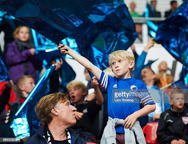 General view of the family stand with young kids waving flags prior to the Danish Alka Superliga match between FC Copenhagen and FC Midtjylland at...