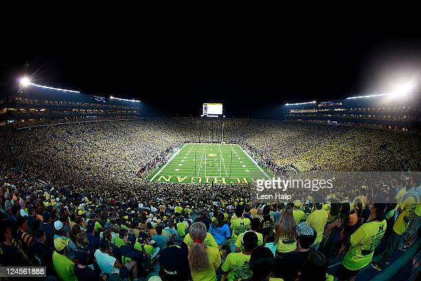 General view of the fans filling the University of Michigan Stadium prior to the start of the game between the Michigan Wolverines and the Notre Dame...