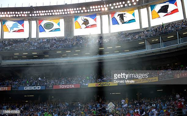 A general view of the fans in the stands during the San Diego Chargers against Baltimore Ravens NFL Game on November 25 2012 at Qualcomm Stadium in...