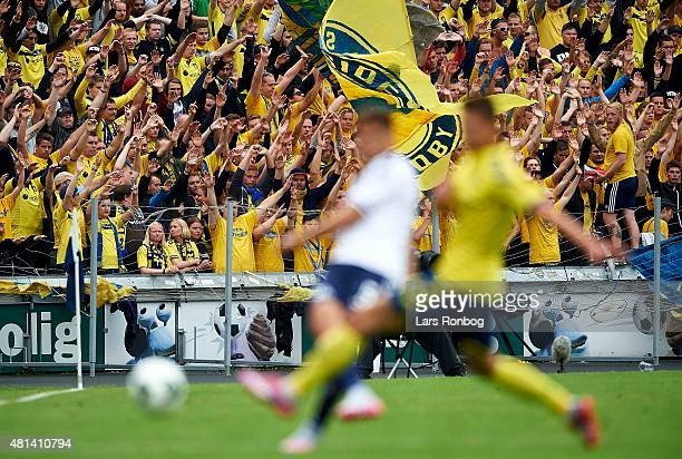 General view of the fans of Brondby IF cheering during the Danish Alka Superliga match between AGF Aarhus and Brondby IF at Cere Park on July 19 2015...
