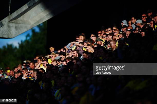 General view of the fans of Brondby IF in the sun during the UEFA Europa League Qualification match between Brondby IF and VPS Vaasa at Brondby...