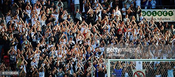 General view of the fans of FC Copenhagen cheering and clapping during the Danish Alka Superliga match between FC Copenhagen and AGF Aarhus at Telia...