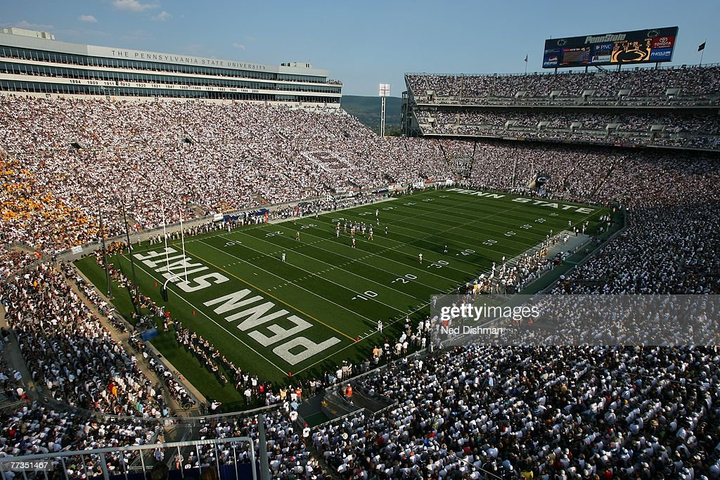 A general view of the fans of the Penn State Nittany Lions during game against the University of Iowa Hawkeyes at Beaver Stadium on October 6 2007 in...