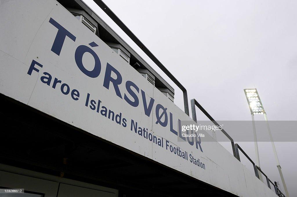 A general view of the Faroe Islands National Football Stadium Torsvollur Stadium on September 1 2011 in Torshavn Denmark