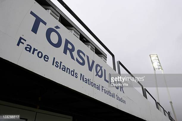 A general view of the Faroe Islands National Football Stadium Torsvollur Stadium on September 1 2011 in Torshavn Denmark
