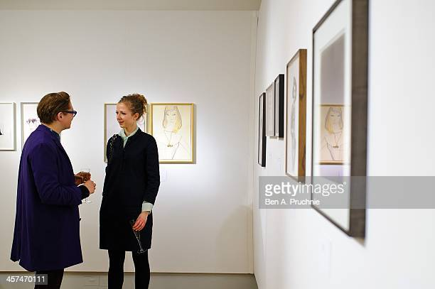 A general view of the Fashion Illustration Gallery At Christie's which is a celebration of fashionable art in partnership with Issa London with...