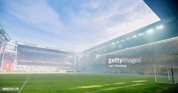 General view of the FC Copenhagen and Brondby IF fans tifo prior to the Danish Cup Final DBU Pokalen match between FC Copenhagen and Brondby IF at...
