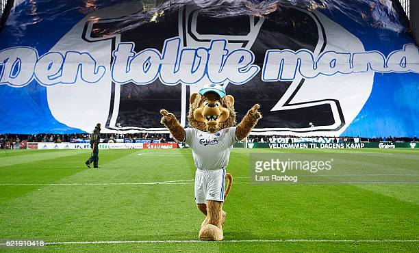 General view of the FC Copenhagen fan tifo and Leo the Lion mascot prior to the Danish Alka Superliga match between FC Copenhagen and Brondby IF at...