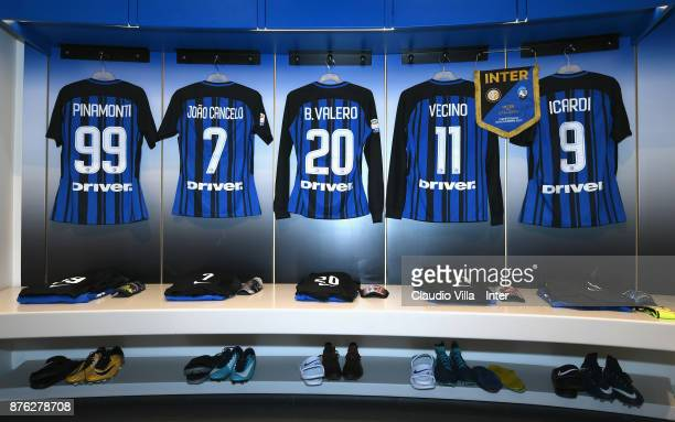 A general view of the FC Internazionale dressing room prior to the Serie A match between FC Internazionale and Atalanta BC at Stadio Giuseppe Meazza...
