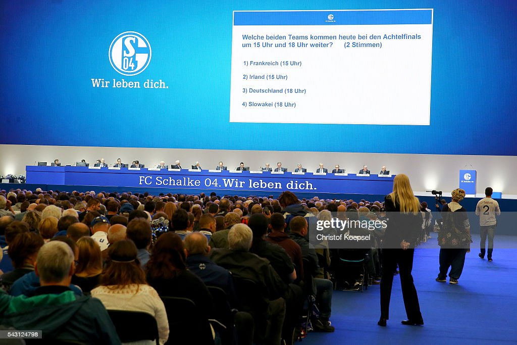 General view of the FC Schalke 04 general assembly at Veltins Arena on June 26, 2016 in Gelsenkirchen, Germany.
