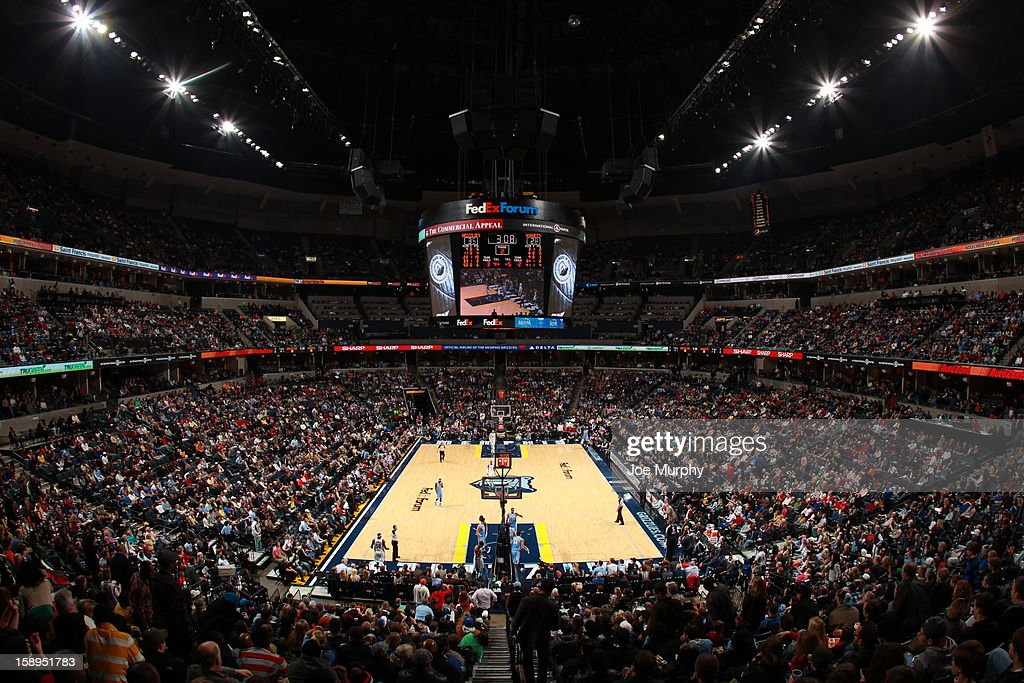 General view of the FedExForum during the game between the Memphis Grizzlies and the Denver Nuggets on December 29, 2012 at FedExForum in Memphis, Tennessee.
