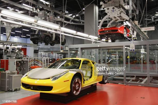 A general view of the Ferrari Nuovo Montaggio Vetture department during a Ferrari factory tour on July 19 2011 in Maranello Italy Ferrari SpA is an...