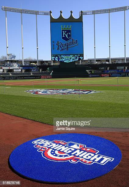 A general view of the field ahead of the opening day game between the Kansas City Royals and the New York Mets at Kauffman Stadium on April 3 2016 in...