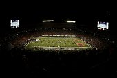 A general view of the field as the band performs prior to the start of the game between the Miami Hurricanes and the Oklahoma Sooners on October 3...