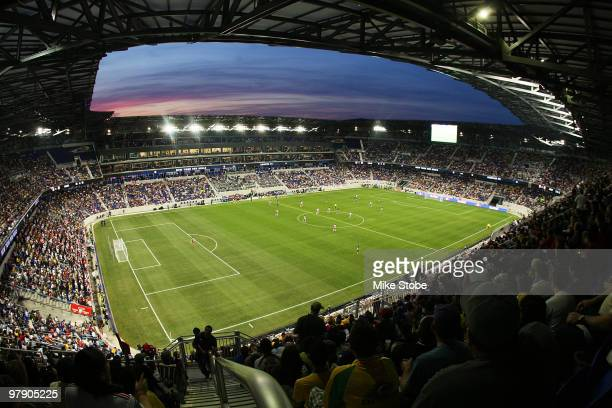 A general view of the field as the New York Red Bulls play the Santos FC on March 20 2010 at Red Bull Arena in Harrison New Jersey