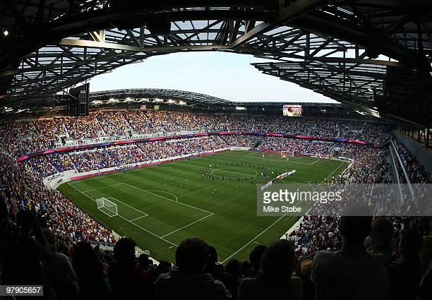 A general view of the field as the New York Red Bulls play the Santos FC stand during the National Anthem on March 20 2010 at Red Bull Arena in...
